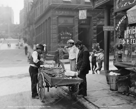 Vintage Clam Sellers & Wagon NY 1900s 8x10 Reprint Of Old Photo