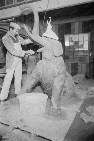 Coney Island Carving Of Elephant Statue 4x6 Reprint Of Old Photo