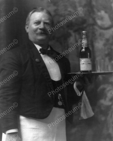 Waiter Bottle of Budweiser Beer Vintage 8x10 Reprint Of Old Photo