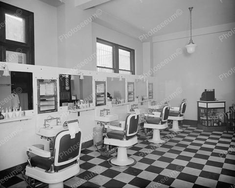 Barber Shop Chairs 1920's Vintage 8x10 Reprint Of Old Photo - Photoseeum