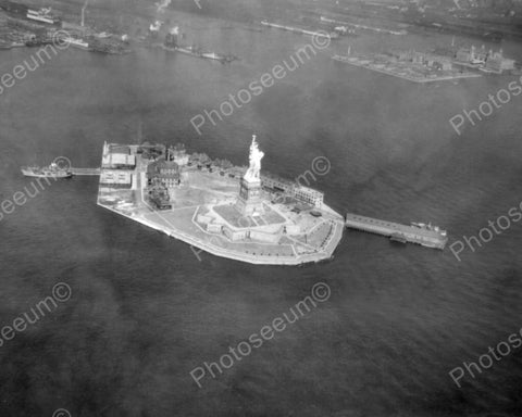 Statue Of Liberty 1920s Aerial View 8x10 Reprint Of Old Photo