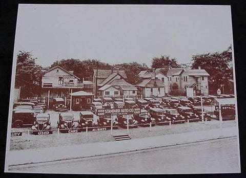 Used Car Lot Standard Auto Co. Automobiles Vintage Sepia Card Stock Photo 1930s