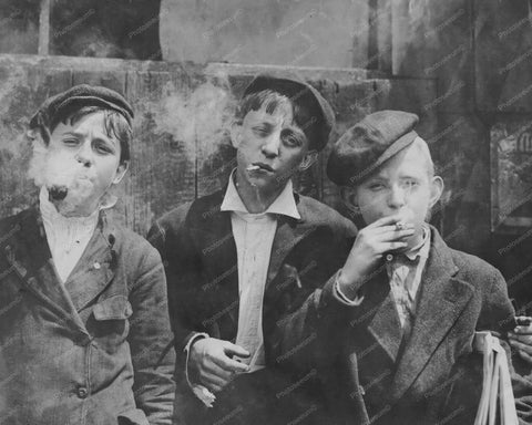Cool Smoking Newspaper Boys! 1900s 8x10 Reprint Of Old Photo