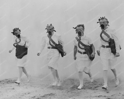 Military Nurses Wearing Gas Masks 8x10 Reprint Of Old Photo
