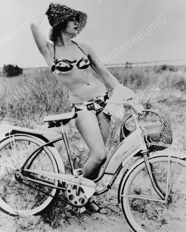 Bikini Clad Gal Poses W Antique Bicycle! 8x10 Reprint Of Old Photo