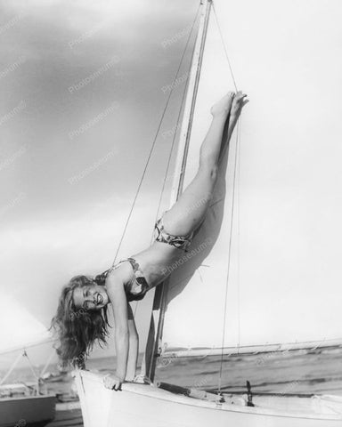 Girl Doing Handstand On Sail Boat Vintage 8x10 Reprint Of Old Photo