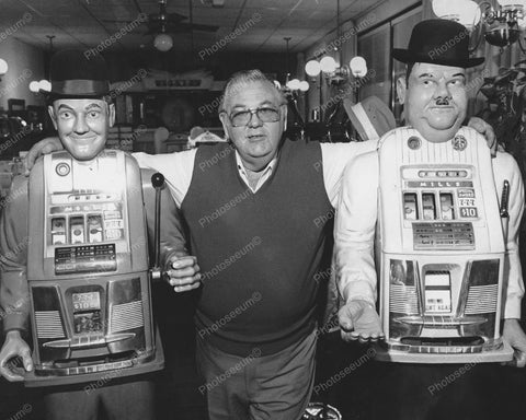 Laurel & Hardy Slot Machines Vintage 8x10 Reprint Of Old Photo
