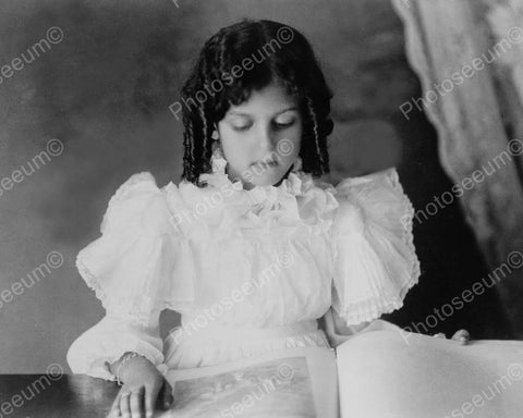 Victorian Girl In White Ruffles Reading 8x10 Reprint Of Old Photo