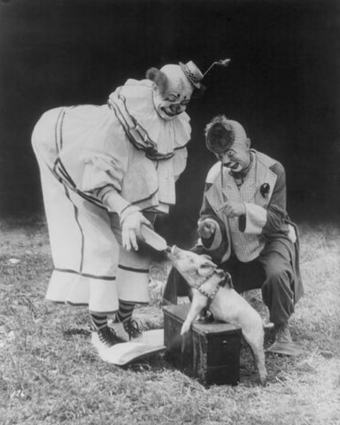 Clowns Feed Small Pig A Bottle! 1930s 8x10 Reprint Of Old Photo