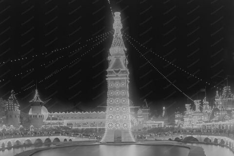 Coney Island Luna Park Tower At Night 4x6 Reprint Of Old Photo