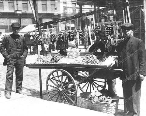 Young Street Vendor Boys Wth Cart 8x10 Reprint Of Old Photo