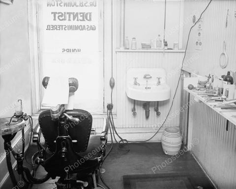 Dentist's Office With Chair Vintage 1900 8x10 Reprint Of Old Photo