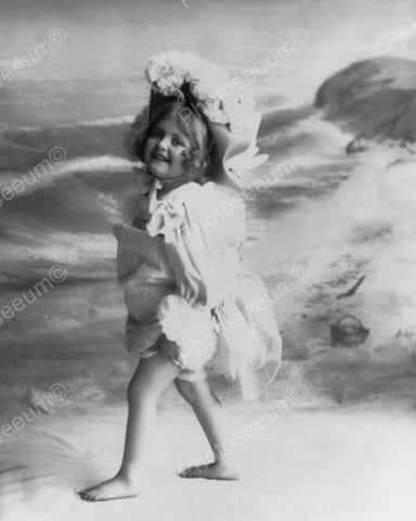 Beautiful Little Girl At The Beach 1800s 8x10 Reprint Of Old Photo