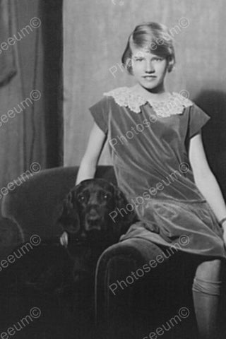 Young Lady With Her Dog 1900s Portrait 4x6 Reprint Of Old Photo