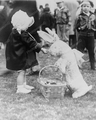 Baby Girl Feeds Easter Bunny 1920s  8x10 Reprint Of Old Photo