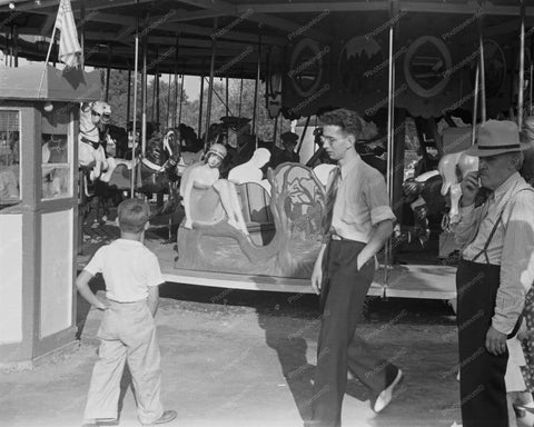 Carousel Amusement Park Scene Ohio 8x10 Reprint Of Old Photo