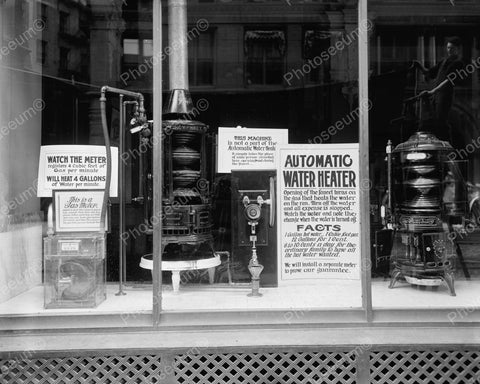 Automatic Water Heater Window Display1905 Vintage 8x10 Reprint Of Old Photo