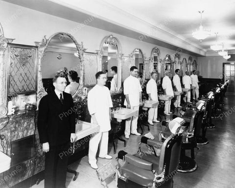 Barber Shop Inspection Vintage 8x10 Reprint Of Old Photo
