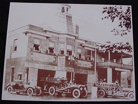 Barberton Ohio Fire Station & Truck Vintage Sepia Card Stock Photo 1930s