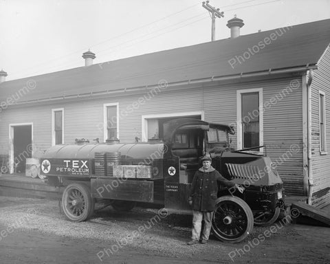 Texaco Co Antique Truck &  Driver 1920s Old 8x10 Reprint Of Photo