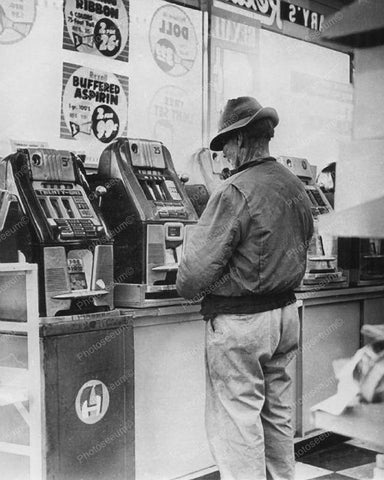 Man Playing Mills Slot Machine In Drug Store Vintage 8x10 Reprint Of Old Photo