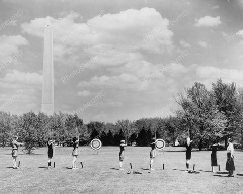 Archery Practice Young Women 1931 8x10 Reprint Of Old Photo