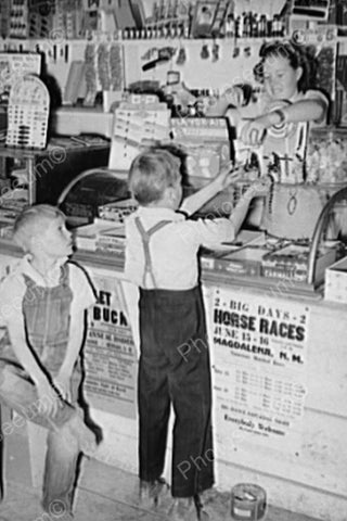 Children Play at Candy Store Nostalgic 4x6 Reprint Of Old Photo