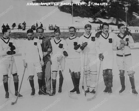 Anglo-American Hockey Team St Moritz 1915 Vintage 8x10 Reprint Of Old Photo