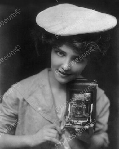Woman With Her Camera 1909 Vintage 8x10 Reprint Of Old Photo