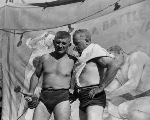 Carnival Wrestlers Chat 8x10 Reprint Of Old Photo