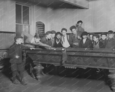 Boys Watching a Game of Billiards 1900s 8x10 Reprint Of Old Photo