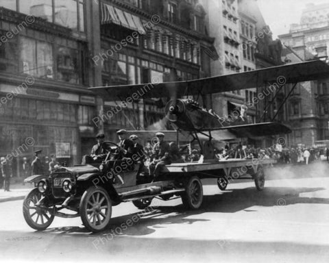 Airplane Runs In New York Parade 1910s 8x10 Reprint Of Old Photo