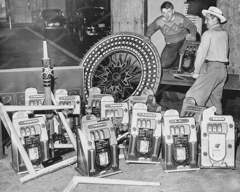 Confiscated Slot Machines Mills 1946 Golden Falls 8x10 Reprint Of Old Photo - Photoseeum