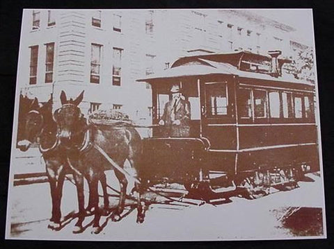 Horse Drawn Trolley Vintage Sepia Card Stock Photo 1800s