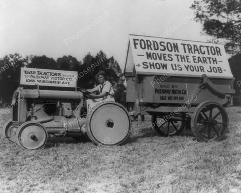 Lady Rides Antique Fordson Tractor 8x10 Reprint Of Old Photo