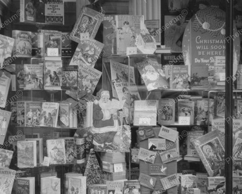 Children's Christmas Book Window Display Vintage 8x10 Reprint Of Old Photo