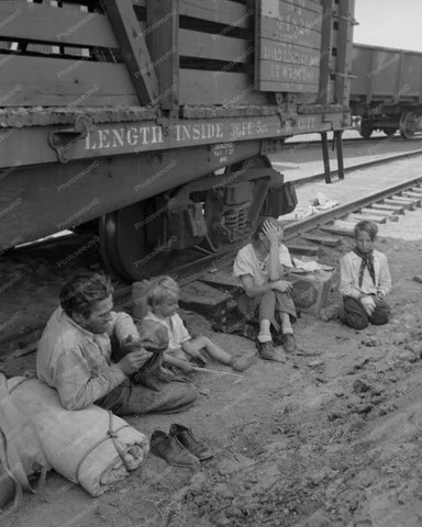 Depression Family Travel Freight Train 8x10 Reprint Of Old Photo