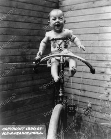 Baby Bike Riding 1899 Vintage 8x10 Reprint Of Old Photo