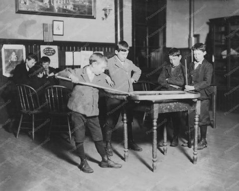 Boys Enjoying Game of Billiards 1900s 8x10 Reprint Of Old Photo