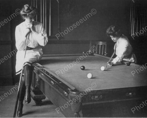 Young Women playing Billiards Pool 1900s 8x10 Reprint Of Old Photo