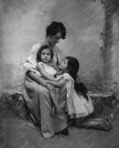 Victorian Mother & Small Daughters 8x10 Reprint Of Old Photo