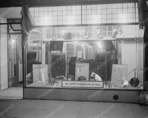 Phonograph Record Store Window Display Vintage 8x10 Reprint Of Old Photo - Photoseeum