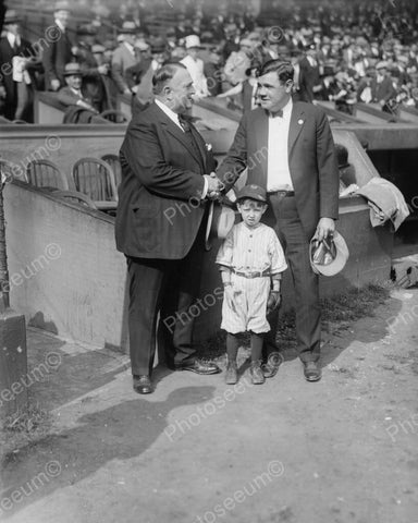 Babe Ruth Bill Edwards & Mascot Baseball 1924 Vintage 8x10 Reprint Of Old Photo