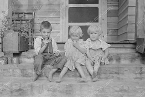 Cute Tots Relax On Country Porch 4x6 Reprint Of Old Photo
