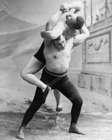 Wrestlers 1890s Vintage 8x10 Reprint Of Old Photo - Photoseeum