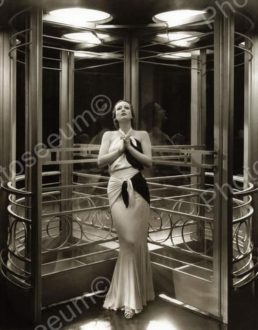 Woman Poses In Beautiful Revolving Door Vintage 8x10 Reprint Of Old Photo
