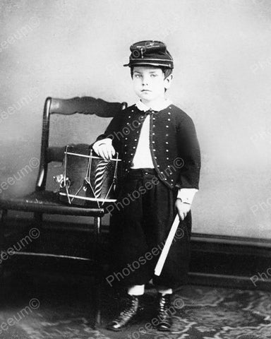 Drummer Boy 1874 Vintage 8x10 Reprint Of Old Photo - Photoseeum