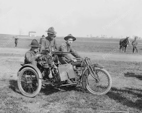 Young Men On Motorcycle With Machine Gun 8x10 Reprint Of Old Photo