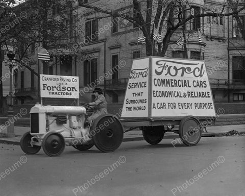 Fordson Tractor Pulling Advertising Float 1922 Vintage 8x10 Reprint Of Old Photo - Photoseeum