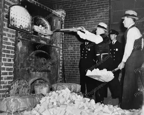 Agents Shovel Heroin Blocks In Incinerator1936 Vintage 8x10 Reprint Of Old Photo
